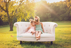 Family photography, outdoors, couch, golden hour, sisters
