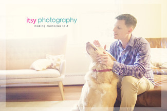 Family photographer, baby photographer, dad, dog, in home, window light,  couch