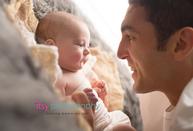 Newborn photographer, baby photography, infant photography, newborn girl, dad, eyes open, lace, burlap, cream wrap, newborn posing ideas, grey flokati