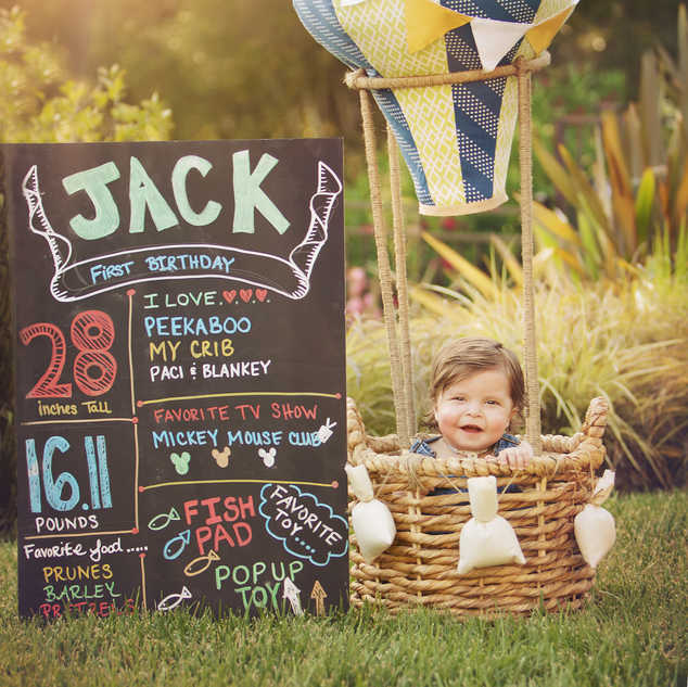 hot air balloon baby boy in a basket out