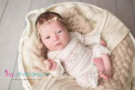 Newborn photographer, baby photography, infant photography, newborn girl, white floor backdrop, white basket, lace outfit, headband, white blankets, newborn posing ideas,
