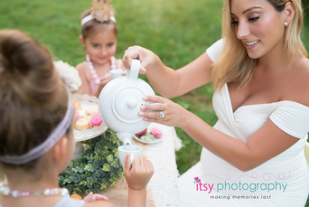 family photographer, tea party, outdoors, maternity , white maternity dress, golden hour