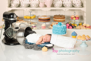 Itsy Photography, Professions, careers, when i grow up, dream job, pretend, Photoshop, composite image, baker, cake, digital backdrop, cakes, pasties, cookies, cupcakes , newborn boy, kitchen aid