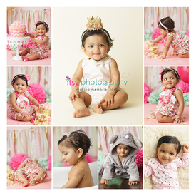 baby photographer,  baby girl, one year old, first birthday, cake smash, Giant cupcake, baloons, cake stand, pink, pink backdrop, rosette frosting, collage, bath, pajamas, cream flokati
