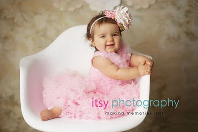 baby photographer, newborn photographer, infant photographer, dc photographer, 1 year old one year old posing ideas, girl pink dress, white chair