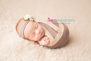 Newborn photographer, baby photography, infant photography, newborn girl, whtie backdrop, grey wrap, floral headband, baby wrapping lace wrap, grey headband , head on hands pose, newborn posing ideas