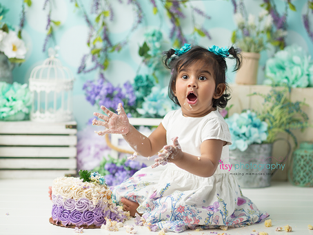 Baby Reya's Spring Flowers Cake Smash ~DC, VA, MD Newborn Baby Family Photographer
