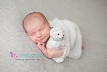 Newborn photographer, baby photography, infant photography, newborn boy, grey backdrop, head on hands pose, newborn posing ideas, white blanket, white bear