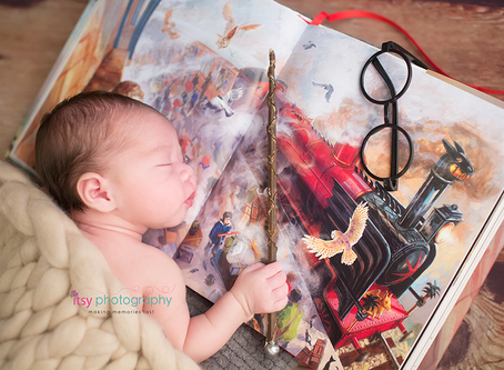 Baby Ari Newborn Harry Potter Theme ~ DC, VA, MD Newborn Baby Family Photographer