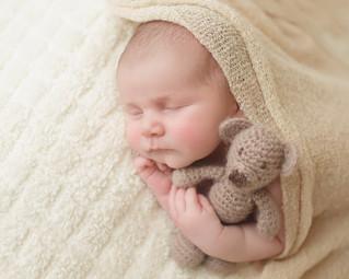 Newborn photographer, baby photography, infant photography, newborn boy, cream wrap, newborn posing ideas,  teddy bear