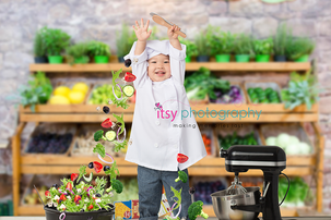 Itsy Photography, Professions, careers, when i grow up, dream job, pretend, Photoshop, composite image, chef, cook, chef hat, mixer, kitchen aid, vegetables, produce isle, cooking