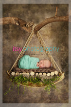 baby photographer, newborn photographer, infant photographer, dc photographer, new born, boy, girl, infant, baby, newborn posing ideas, baby wrapping, swing, brown backdrop, logs, green wrap