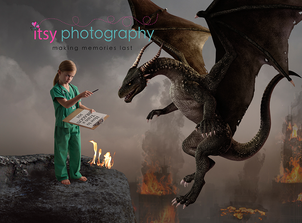 Itsy Photography, Professions, careers, when i grow up, dream job, doctor, dragon, medieval, pretend, Photoshop, composite image, bad dragon