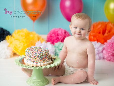 Baby Logan Rainbow Confetti Cake Smash ~ DC, VA, MD Newborn Baby Family Photographer