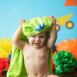 baby boy towel contruction cake smash th