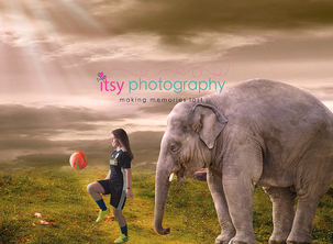 Itsy Photography, Professions, careers, when i grow up, dream job, pretend, Photoshop, composite image, elephant, soccer, soccer player, soccer ball, field, surreal, surrealism