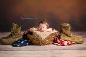Newborn photographer, baby photographer, newborn, boy, infant, newborn posing ideas, american flag, combat boots, basket, head on hands pose, brown backdrop