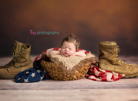 Wesley's Newborn Session ~ DC, VA, MD Newborn Baby Family Photographer ; Patriotic