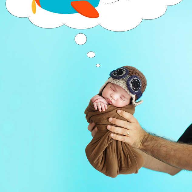 newborn baby dreaming cartoon airplane d