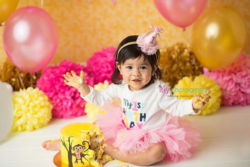 baby photographer, cake smash, monkey cake, pink balloons, yellow balloons, cake stand, pink tutu, party hat, orange backdrop, baby girl, pink banner