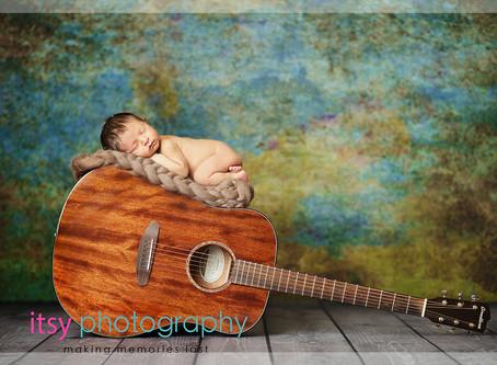 BTS how to composite for Guitar newborn posing ~ DC, VA, MD Newborn Baby Family Photographer