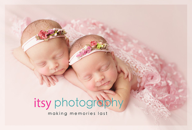 Newborn photographer, baby photography, infant photography, newborn girls, twins, twin posing ideas, white backdrop pink, pink wrap, baby wrapping ,studio  photography, newborn posing ideas, floral headbands