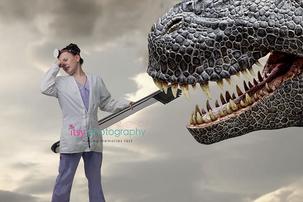 Itsy Photography, Professions, careers, when i grow up, dream job, pretend, Photoshop, composite image, dentist, dinosaur, Tyrannosaurus rex, toothbrush , bad breath