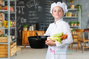 Itsy Photography, Professions, careers, when i grow up, dream job, pretend, Photoshop, composite image, chef, cook, chef hat, vegetables, cooking, kitchen