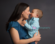 baby photographer, family, mom, son, blue button up, black backdrop