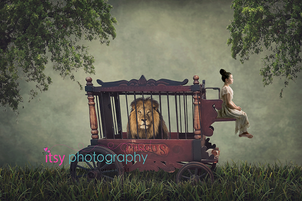 Itsy Photography, Professions, careers, when i grow up, dream job, pretend, Photoshop, composite image, lion, cage, carriage, circus, forest, carriage ride