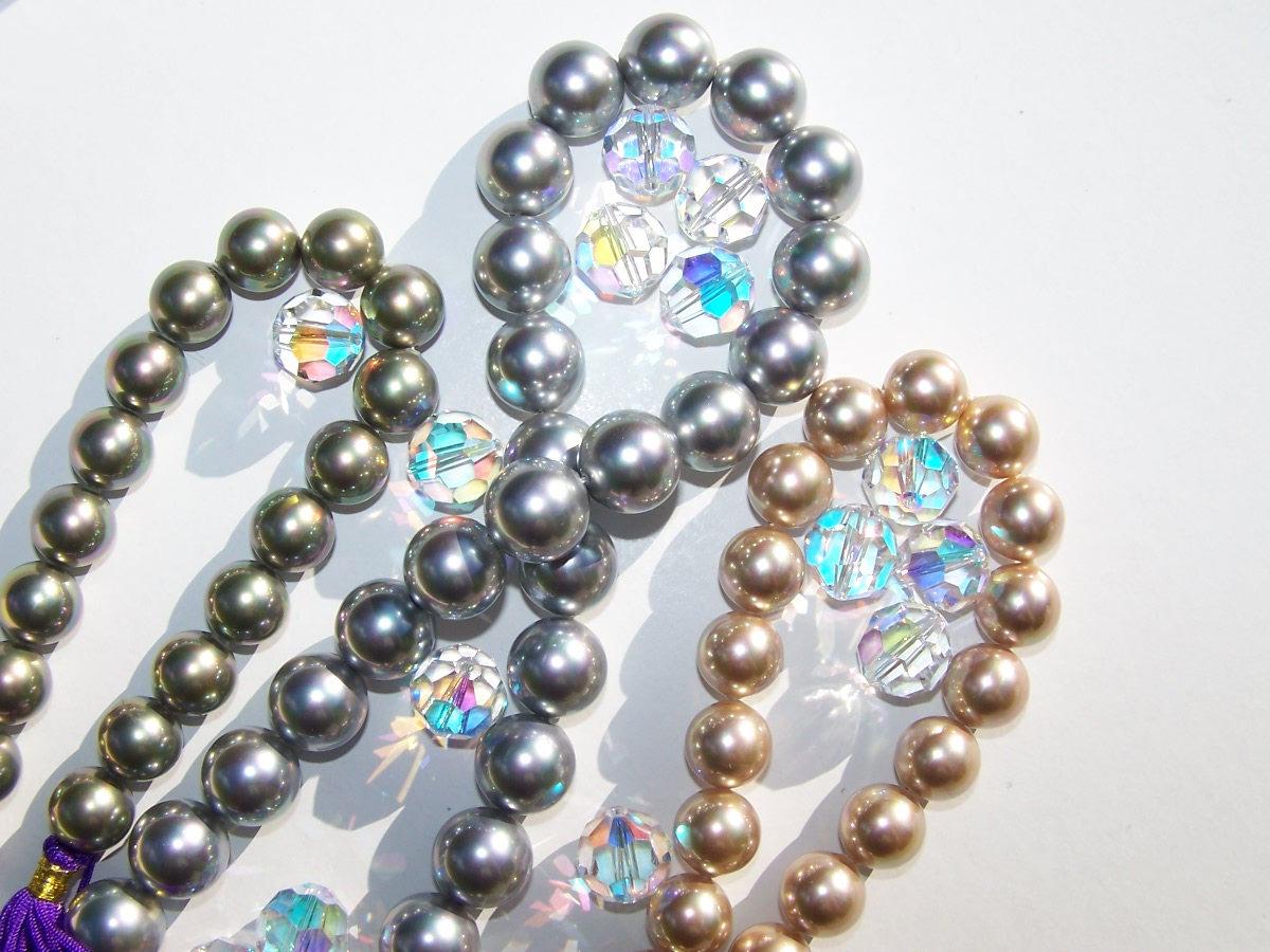 Muschelkern -und Swarovski Perlen