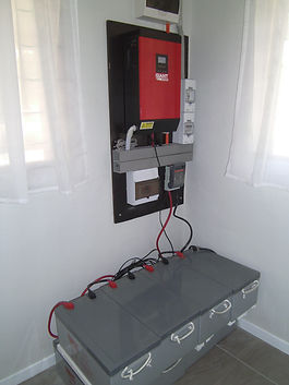 Solar Power system and batteries in storeroom at Aoredise