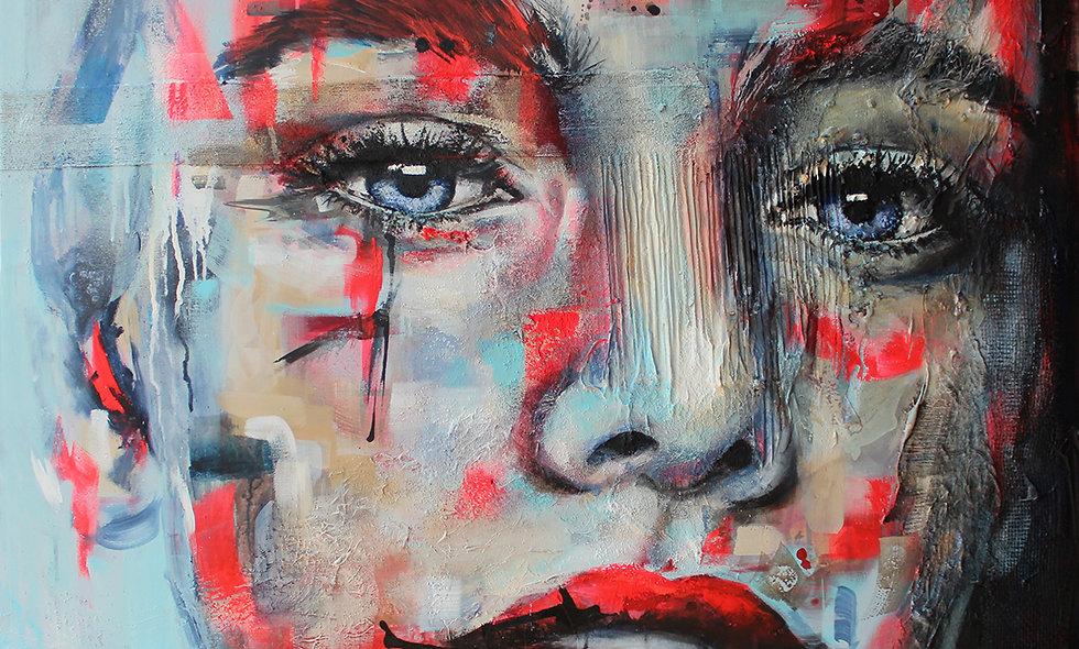 Verletzlich | Acryl, Struktur, Spray & Acryl auf Leinwand | 100 x 100 cm