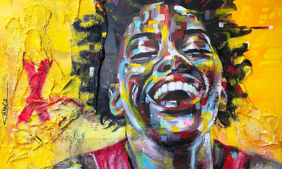 Voll das Leben | Struktur & Acryl  auf Leinwand | 100 x 120 cm