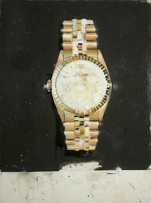 Rolex gold, 132 : 100 cm, varnish on fib
