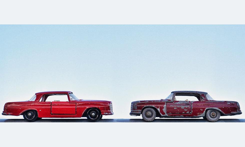 Matchbox Duo // Mercedes Coupé red // Acrylglas