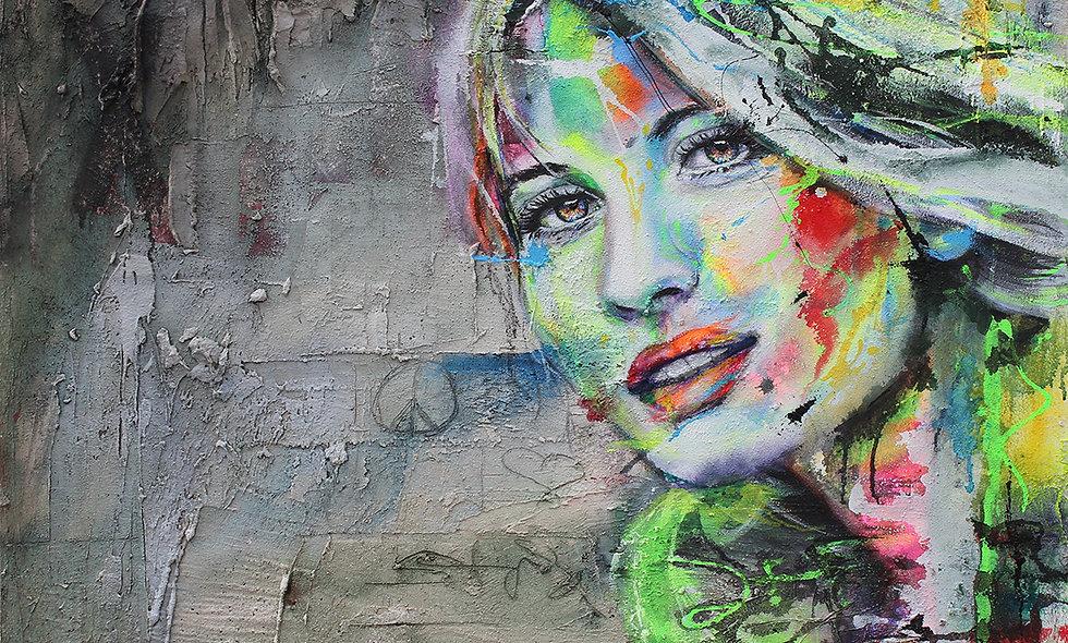 Urban Art   Acryl, Struktur & Mischtechnik auf Leinwand   100 x 120 cm