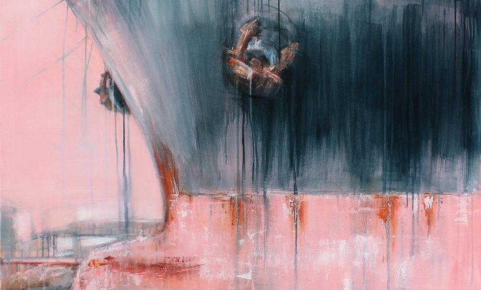 Hafen Rosarot 2 | Acryl auf Leinwand/Keilrahmen | 100 x 120 cm