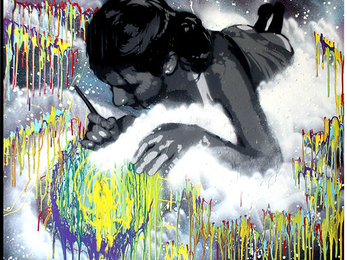 Draw me a World - SprayPaint & Acrylic on Canvas