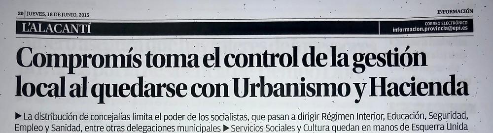 """""""Compromís toma el control de la gestión local al quedarse con Urbanismo y Hacienda"""""""
