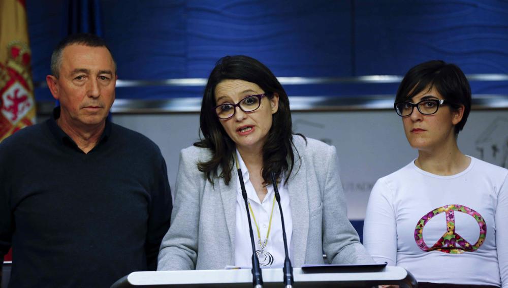 Joan Baldoví, Mónica Oltra i Marta Sorlí al Congrés