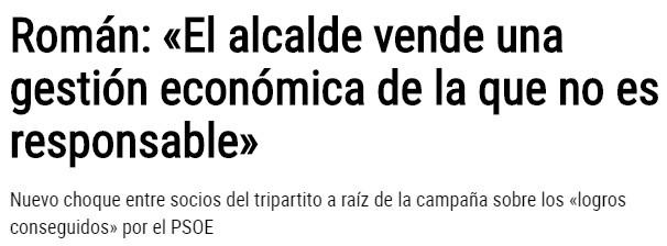 """""""El alcalde vende una gestión económica de la que no es responsable"""" Nuevo choque entre socios del tripartito"""