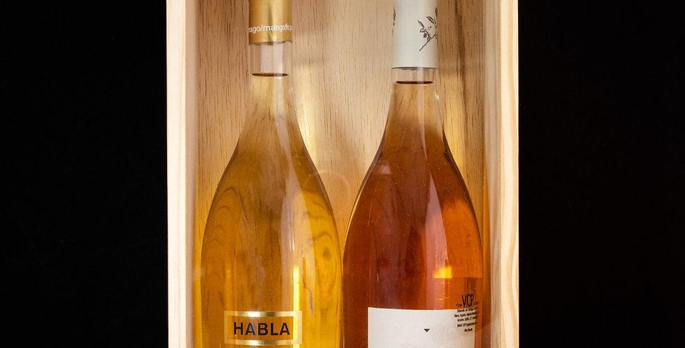 Caja guarda corchos para dos vinos
