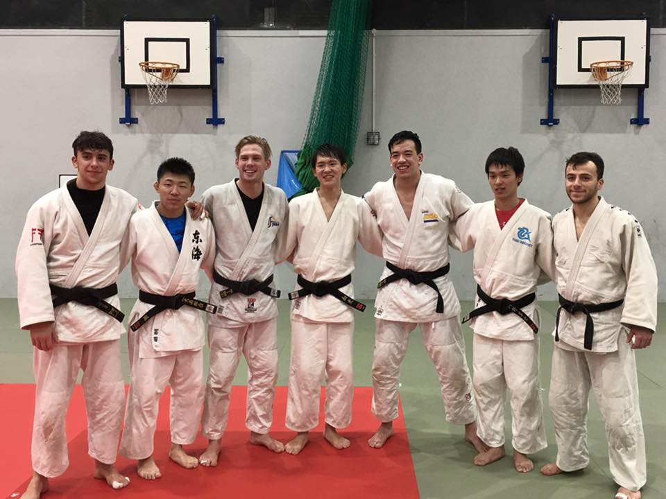 The Sobell duo with Japanese and Swedish judoka.