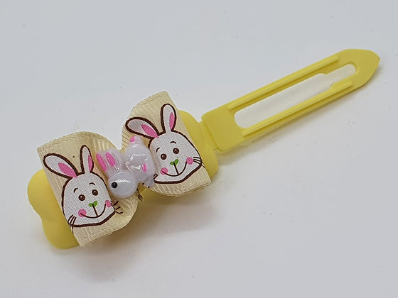 Yellow Easter Bunny on a Bunny Patterned Bow on a Pale Yellow 4.5 C