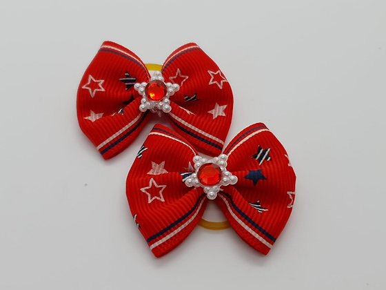 Red Star Patterned Fabric Top Elastic Bow