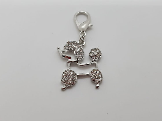 Diamante Poodle Dog Collar Charm Tag