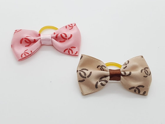 CC Patterned Single Bow Soft Top Knot Elastic