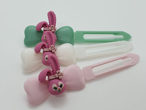 Pink Easter Comic Bunny Head top knot barrette on a 4.5cm or 3.5 Clip
