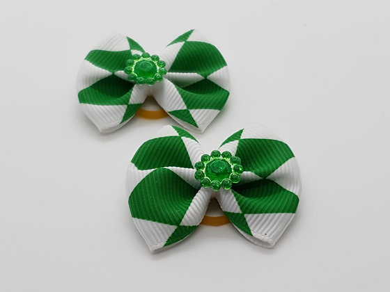 Green Triangle Patterned Fabric Top Elastic Bow